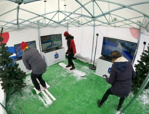 Symulator nart, snowboardu i zimowe gogle VR na event- biathlon